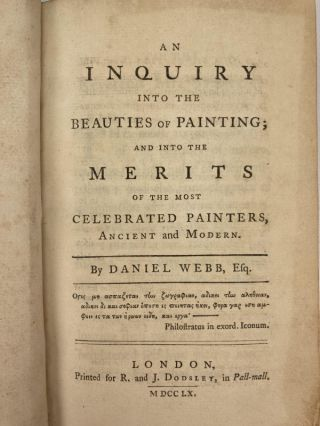 An Inquiry Into the Beauties of Painting; ;and into the merits of the most celebrated painters, ancient and modern; Remarks on the Beauty of Poetry; observations on the correspondence between poetry and music.