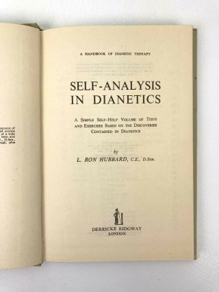 Self-Analysis in Dianetics; A simple self-help volume of test and exercises based on discoveries in Dianetics