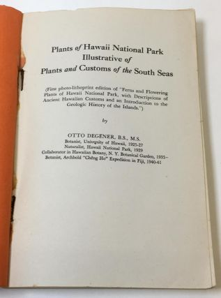 Plants of Hawaii National Park; Illustrative of Plants and Customs of the South Seas